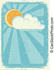 struktura, papier karta, słońce, stary, wektor, clouds., ...