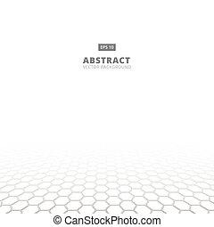 struktura, wektor, ruszt, ilustracja, white., czarnoskóry, sześciokątny, pixel, perspektywa