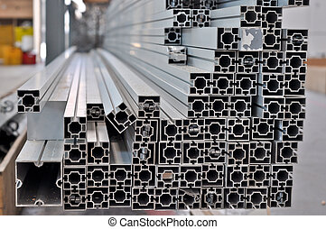 strukturell, profile, aluminium, stapel