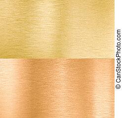 strukturer, koppar, metall, guld