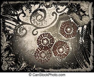 strukturer, stil, gammal, abstrakt, papper, blommig