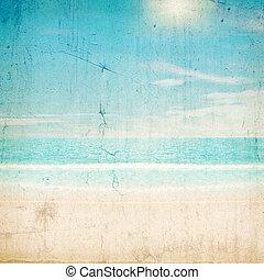 strukturer, strand., sol, över, tropisk, skrapar, portfölj, min