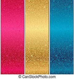 strukturer, vektor, metall, färgrik