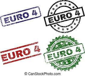 strukturerad, euro, 4, frimärken, försegla, skadat