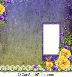 strukturerad, grunge, bakgrund, med, gula rosa, och, utrymme, för, text