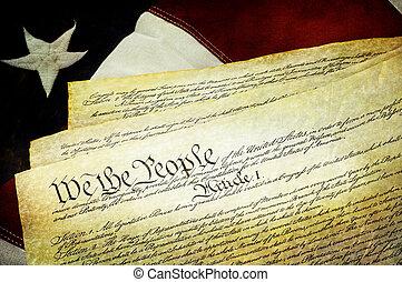 struktureret, amerikaner, forfatning, hos, amerikansk. flag