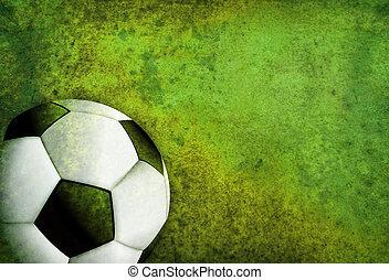 struktureret, fodbold soccer, felt, baggrund, hos, bold