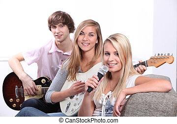 strumenti, adolescente, tre, musicale, gioco