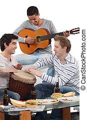 strumenti, gioco, amici, musicale, tre