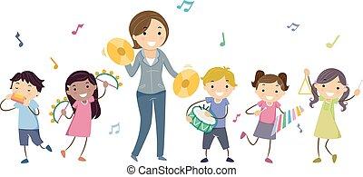 strumenti, gioco, bambini, stickman, insegnante