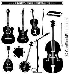 strumenti, isolato, musica, vettore, paese, bianco