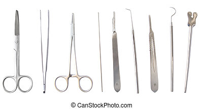 strumenti, medico, isolato, diverso, chirurgia, bianco