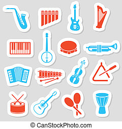 strumenti musica, adesivi