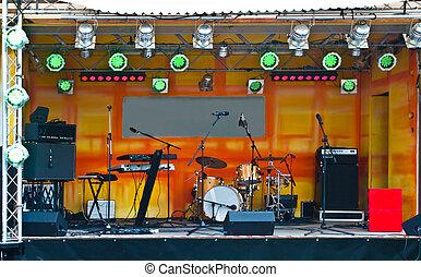 strumenti, musica, palcoscenico