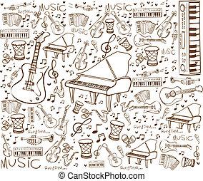 strumenti, musica, scarabocchiare