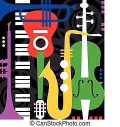 strumenti musica, su, nero