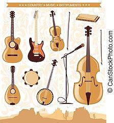 strumenti, musica, vettore, disegno, paese