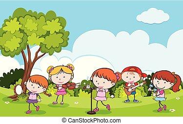strumenti, musicale, parco, bambini giocando