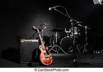 strumenti, musicale, set, concerto, durante