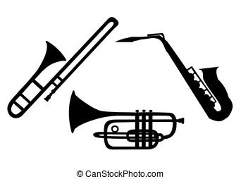 strumenti, ottone, silhouette