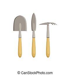 strumenti, set, forcella giardinaggio, selettore rotante
