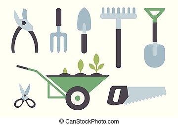 strumenti, set, giardinaggio