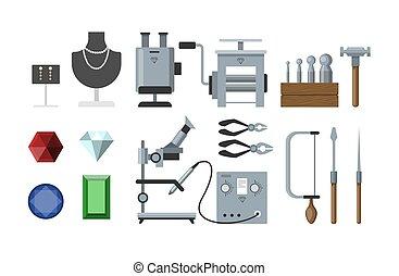 strumenti, set., gioielleria