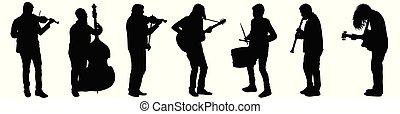 strumenti, silhouette, strada, gioco, musicisti