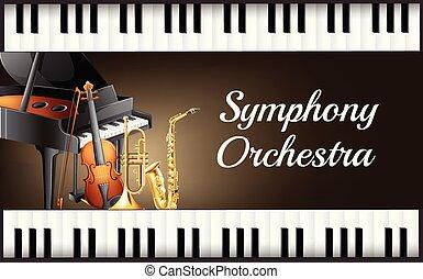 strumento, fondo, orchestra, sinfonia, disegno