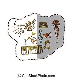 strumento musica, con, note, musicals, icona