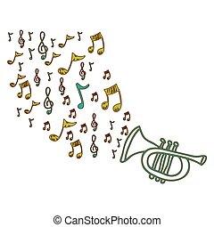 strumento, note, icona, tromba, musica