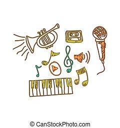 strumento, note, musica, musicals, icona