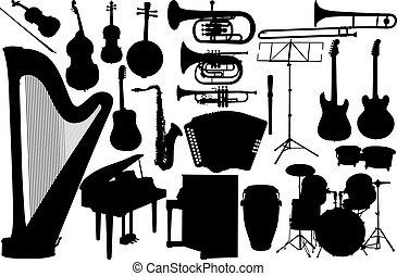 strumento, set, musica