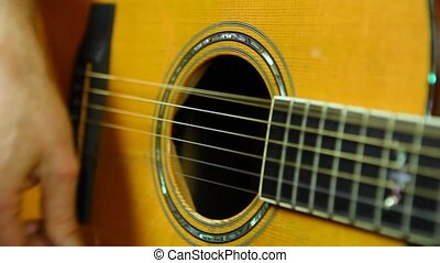 strumming., droit, guitarist's, main