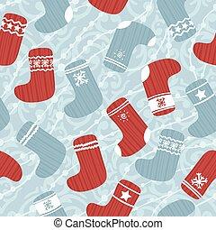 strumpan, mönster, seamless, jul