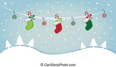 strumpan, snö, hängande