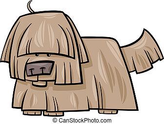 struppig, hund, abbildung, karikatur