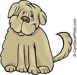struppig, terrier, hund, abbildung, karikatur