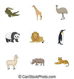 struts, emu, krokodil, giraff, tiger, pingvin, och, annat,...