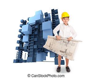 struttura, architetto, giovane, astratto