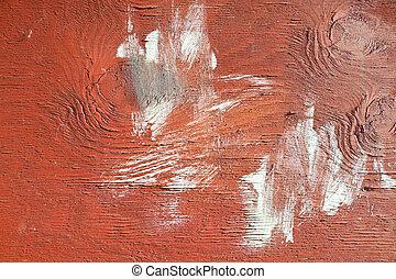 struttura completa, su, vernice, asse, chiudere, bianco, macchia, rosso