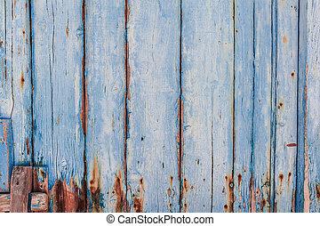 struttura, di, pannello legno, dipinto, di, blu