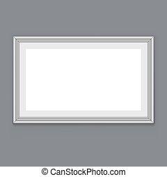 struttura parete, appendere, grigio, vettore, vuoto, bianco, template.