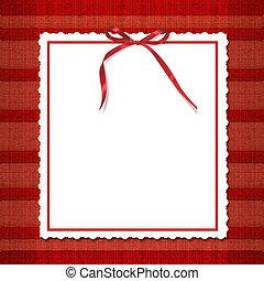 struttura, per, invitations., uno, rosso, bow., uno, bello, tartan, fondo.