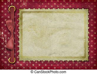 struttura, per, uno, foto, o, invitations., uno, rosso, bow., uno, grunge, fondo.