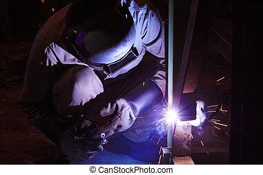 struttura, saldatura, industriale, acciaio, fabbrica, lavoratore, terme