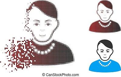 strzępiony, pixel, halftone, modny, facet, ikona