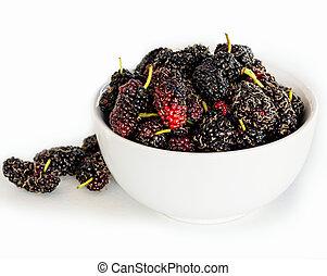 strzał, dojrzały, mulberries, makro, ognisko., selekcyjny