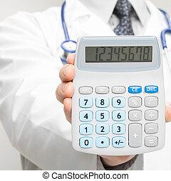 strzał, doktor, medyczny, -, closeup, dzierżawa, kalkulator