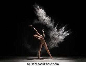 strzał, taniec, wysmukły, studio, kurz, blondynka, biały